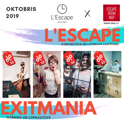 Whole october 25% discout for L'Escape and Exitmania rooms