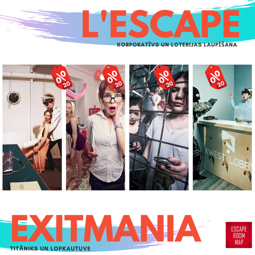 Whole January 20% discount for L'Escape, Exitmania and Escape.lv rooms